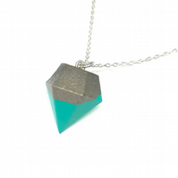 Modern simple handmade, aqua colour, Concrete geometric pendant on silver chain