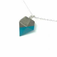 Modern handmade, turquoise colour, Concrete geometric pendant on silver chain