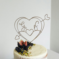 Cupid Heart Wire Cake Topper