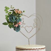 Custom Flower Personalised Heart Wire Cake Topper
