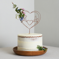 Flower Heart Wire Cake Topper