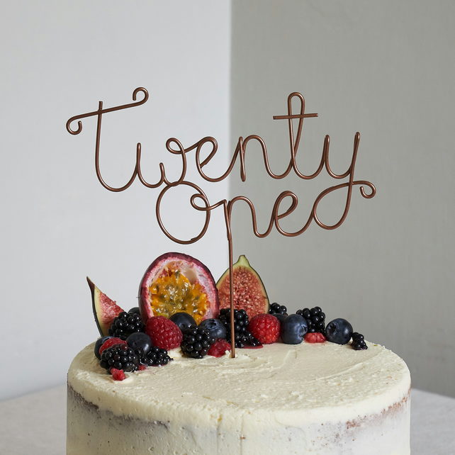 Twenty One Wire Cake Topper