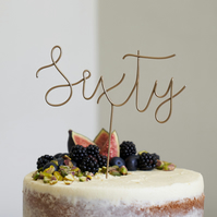 Script Sixty Wire Cake Topper
