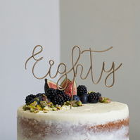 Script Eighty Wire Cake Topper