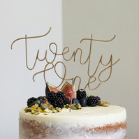 Script Twenty One Wire Cake Topper