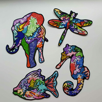 Psychedelic stickers . Rainbow lover gift . Animal, sea & insect decals