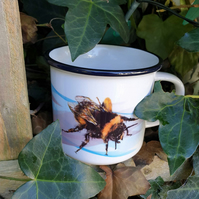 Bumble bee ceramic camping mug . Insect illustration . Bee lover gift
