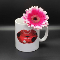 Lips ceramic mug . Love lips . Rorschach ink blot design .