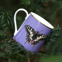 Butterfly bone china luxury mug . Love butterflies . Gift for gardeners
