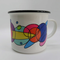 Abstract planet mug . Rainbow lover gift . Gift for abstract lover