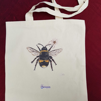 Bee cotton tote bag . Insect lover gift . Natural cotton bag for life