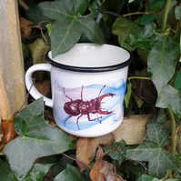 Stag beetle ceramic camping mug . Bug lover gift . Stag beetle lover gift