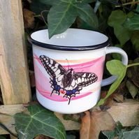 Butterfly ceramic camping mug . Love butterflies . Gift for gardeners