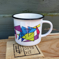 Rainbow shards ceramic camping mug . Abstract lover gift . Love minimalism