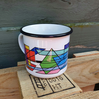 Fragmented stained-glass ceramic camping mug . Love abstract . Minimalist design