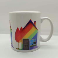 Rainbow home ceramic  mug . Love rainbows . New home gift . Rainbow lover gift