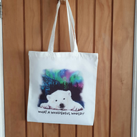 Polar bear pup & Northern Lights tote bag . Love polar bears .