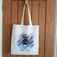Bee tote bag . Love fairies . Recycled polyester tote bag . Bee lover gift