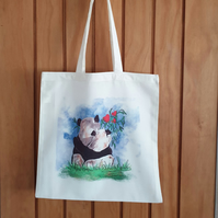 Panda tote bag . Love pandas . Ethically-produced polyester bag for life