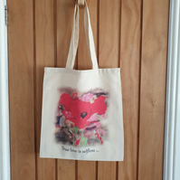 Poppy tote bag . Love & war illustration. Recycled polyester tote bag