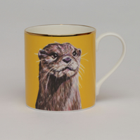 Otter bone china luxury mug . Gift for otter lover . Love woodland animals