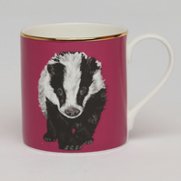 Badger bone china luxury mug . Animal lover gift . Love badgers