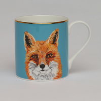 Fox bone china luxury mug . Love foxes . Animal illustration . Exclusive gift