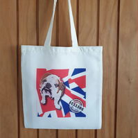 British bulldog & Union Jack tote bag . Love dogs . Recycled bag for life