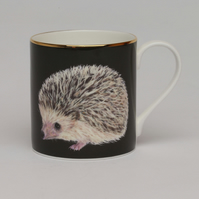 Hedgehog bone china luxury mug . Love hedgehogs. Animal illustration gift