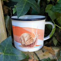 Snail ceramic camping mug . Love snails. Invertebrate lover gift