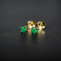 Natural Emerald Stud Earrings in Gold Fill, 3mm
