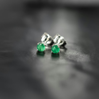 Natural Emerald Stud Earrings in Sterling Silver