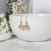 Classic Hammered Rose Gold Disc Earrings