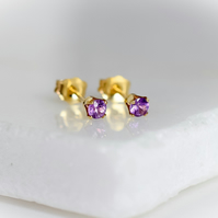 Natural Purple Sapphire Stud Earrings