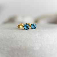 Solid Gold Swiss Blue Topaz Stud Earrings, November Birthstone