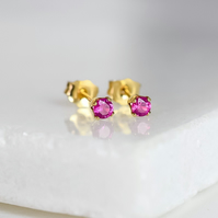Natural Pink Ruby 3mm Stud Earrings in 14k Gold Fill