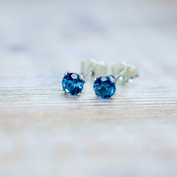 London Blue Topaz 4mm Stud Earrings in Sterling Silver