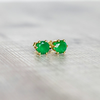 Green Onyx Studs in Gold Fill