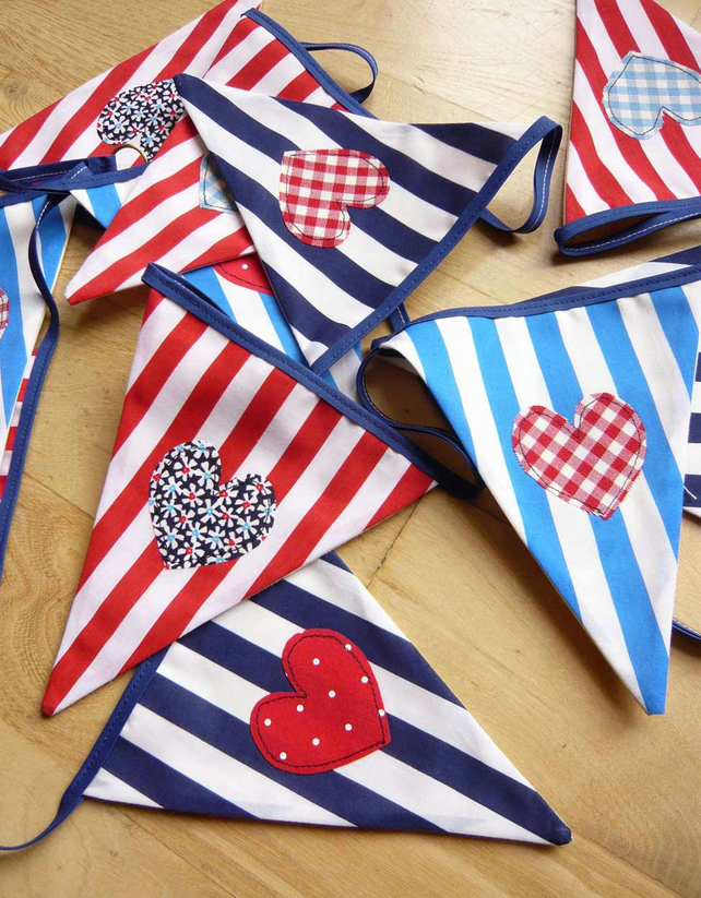 Red, White & Blue, Summer Bunting, hearts stripes