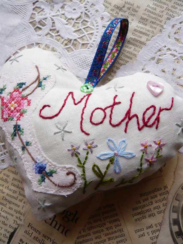 Mother's Day Vintage style embroidered Lavender Fabric Heart