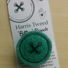 Harris Tweed, lovely handmade textile button brooch, pin