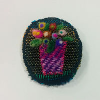 SALE Handloom & tweed, fibre art, felted, Old Masters flower brooch, lovely gift