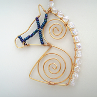 Crystal Moon Wire Wrapped Horse Necklace