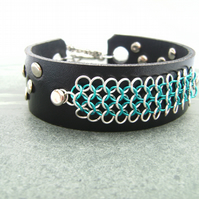 Black Leather Chainmail Bracelet Cuff
