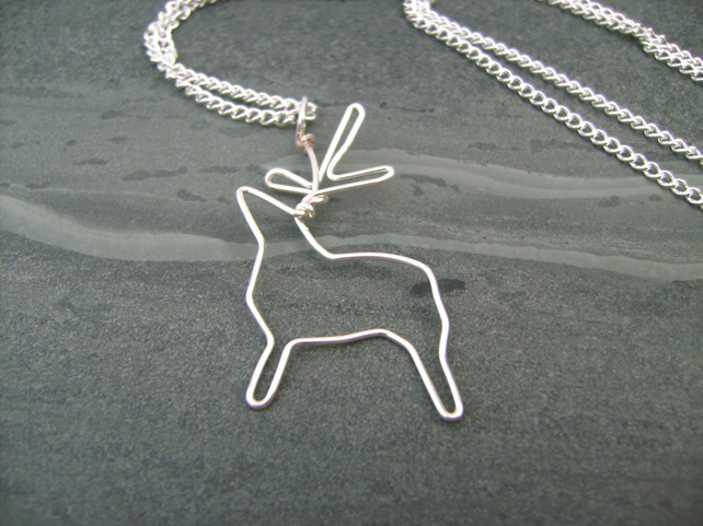 Silver Mist Stag Pendant Wire Necklace