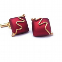 Gents Mens Cufflinks Wire & Bead