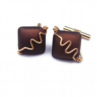 Wire & Bead Cufflinks Gents Mens