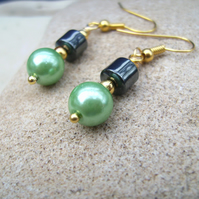Hematite Green Glass Pearl  Earrings