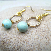 Turquoise Brass Ring Earrings