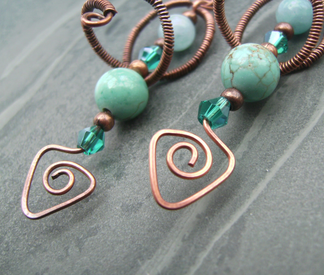 Copper Wire Turquoise Glass Crystal Bead Earrings